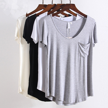 New S-4xl Plus Size Fashion All Match V Neck Short Sleeve T-Shirts women Summer Loose basic t shirt European Style Tops tee 1408 fashion ice silk all match o neck short sleeve t shirts summer new arrivals knitting bottoming fitness european style tops 1610