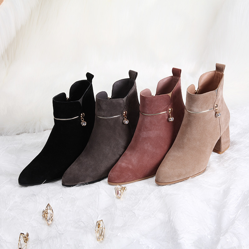 L &T Autumn Winter Women Boots Casual Ladies shoes Martin boots Suede Leather ankle boots High heeled zipper Snow boot dunlop winter maxx wm01 205 65 r15 t