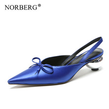 NORBERG Elegant Silk Goose Egg Design with Pointy Women Sandals Leather Red Summer/Autumn Wedding Shoes High Heel Slippers