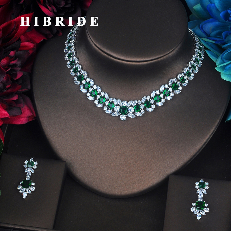 HIBRIDE Brand Beautiful Green Flower Shape Full Cubic Zirconia Dubai Jewelry Sets Women Wedding Bride Dress