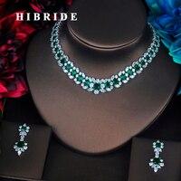 HIBRIDE Brand Beautiful Green Flower Shape Full Cubic Zirconia Dubai Jewelry Sets Women Wedding Bride Dress