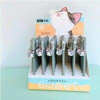 36pcs Lot Black Ink Cat Gel Pen With Pendant Cute Animal Gel Pen Kitty Doll Unisex