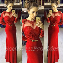 Neue Ankunft Frauen Abendkleider Meerjungfrau Scalloped Long Sleeve Abendkleid Applique Bodenlangen Langen Roten Abendkleid 2016