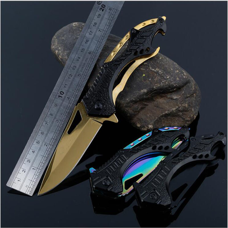 Outdoor Tactical Folding Sharp Knife Titanium Pocket Knife Karambit Rescue Survival knife Camping Hunting Tools Cuchillo