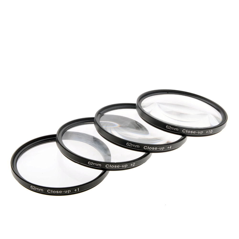 Free Shipping High-Profession Close Up Macro Lens Kit (+1 / +2 / +4 / +10) Diopter Filters Set for DSRL camera - Black (62mm)