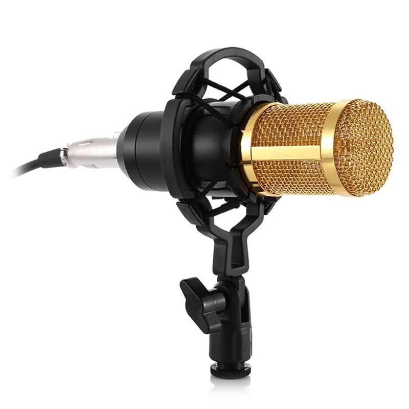 HAWEEL 3.5mm Studio D'enregistrement Filaire Condenseur À Son Microphone avec support de choc compatible avec PC/Mac pour Diffusion En Direct Spectacle