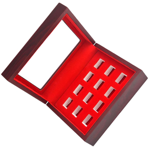 Image 5 - MagiDeal Wooden Box Glass Lid 12 Hole Slot for Sports Fans Athlete Championship Ring Red Interior Antique Collection