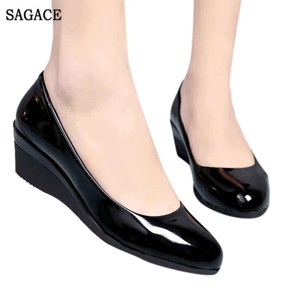 Klassische Schwarz Büro Schuhe Leder Damen Pumpe Schuhe Arbeit Beiläufige Einzelne Schuhe Elegante Mode Platz Ferse Büro Schuhe