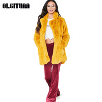 Elegant Shaggy Long Women's Faux Fur Coat Autumn Winter Warm Female Soft Rabbit Fur Coat Women Overcoat Party 8 Colors To Choose