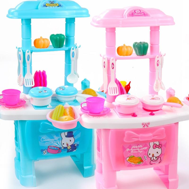 DIY Pretend Play Pink Blue Dinner Table Kitchen Food Toys Cocina De Juguete Toy Kid's Kitchen