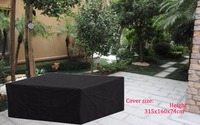 Garden Combination Sofa Set Cover 315x160x74cm Black Color Durable Fabric Waterproofed Dust Proofed Outdoor Furniture Cover