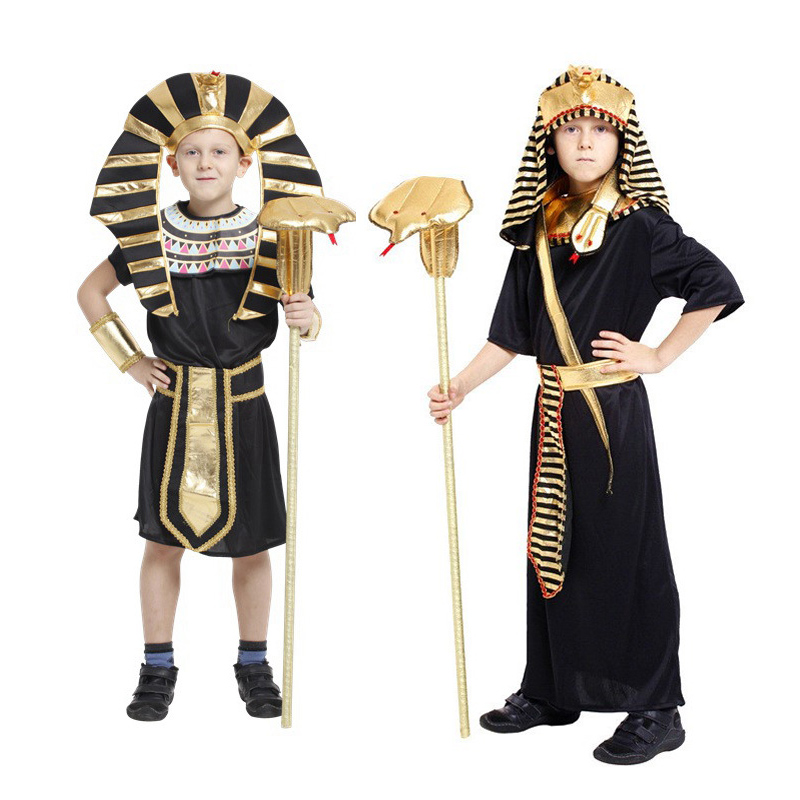 2018 Halloween Egyptian Pharaoh Costume Golden Costumes Boy Uniforms