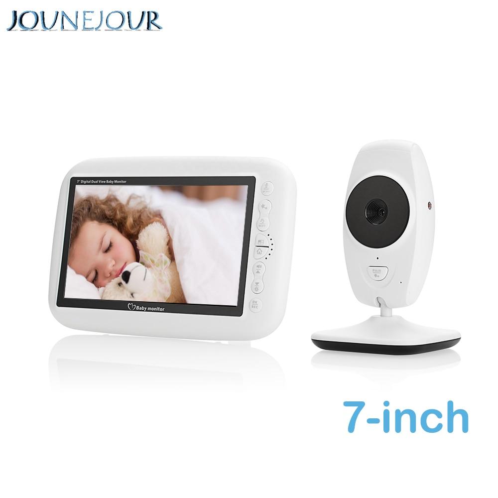 JUNEJOUR 7 pouces vidéo bébé moniteur 720P LCD sans fil bébé caméra affichage bidirectionnel interphone vocal Vision nocturne température berceuse