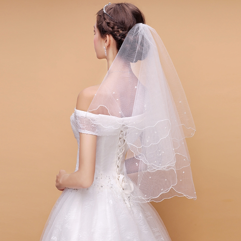 Bridal Veil Pearl Wedding Dress Veil Layers Tulle Ribbon Edge Bridal Veils Women Accessories