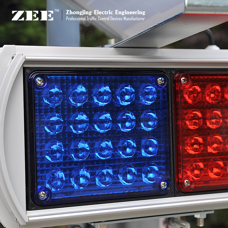 Купить с кэшбэком Solar High flux LED Road Hazard Warning Light double side Red & Blue caution