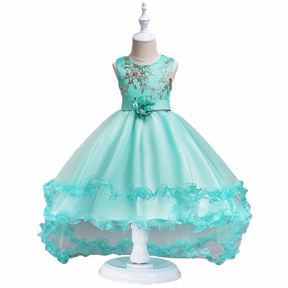 2018 Kids Clothes Girls Flower Dress Children Girl Gold wire embroidery Party Dress Baby Princess long tail evening dresses