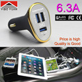 Quality Super 3 USB 5V 6.3A USB Car Charger Adapter For iPhone / SamSung S6 S5 S4 S3 Note 4 3 / all mobile phone / Pad / Car DVR