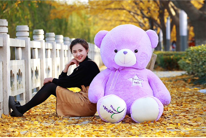 stuffed large 150cm lavender teddy bear toy bear doll soft hug pillow,Xmas gift 0447 stuffed animal 120 cm cute love rabbit plush toy pink or purple floral love rabbit soft doll gift w2226
