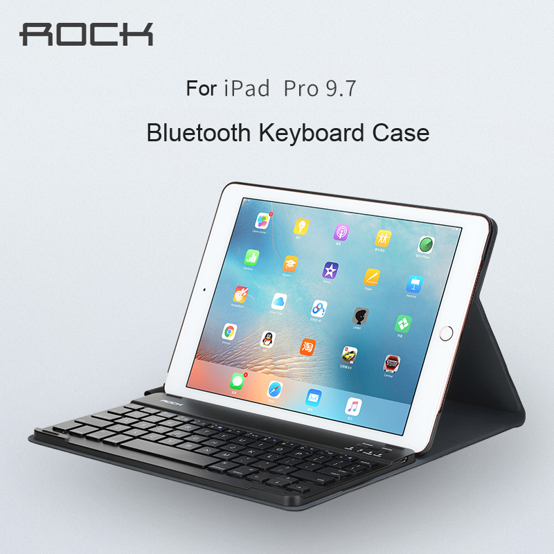 For apple ipad pro 9.7 Bluetooth Keyboard leather case ROCK pu leather Cover Protective Bluetooth Keyboard Case for ipad pro