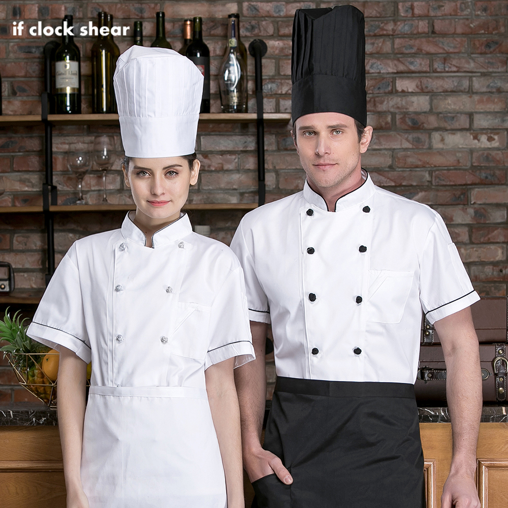 Food Service Cooker Coat High Quality Short Sleeved Restaurant Hotel Kitchen Chef Uniform Catering Chef Jackets Work Clothes Men