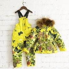 Девушки зимой меховой воротник вниз пальто костюмы 2016 новый теплый удобный цветы печати snowwear пальто + спецодежда брюки 2 шт./компл.