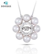 DovEggs Unique 18K White Gold 0.1carat Dancing Setting Diamond Pearl Pendant Necklace For Women Chain Necklaces