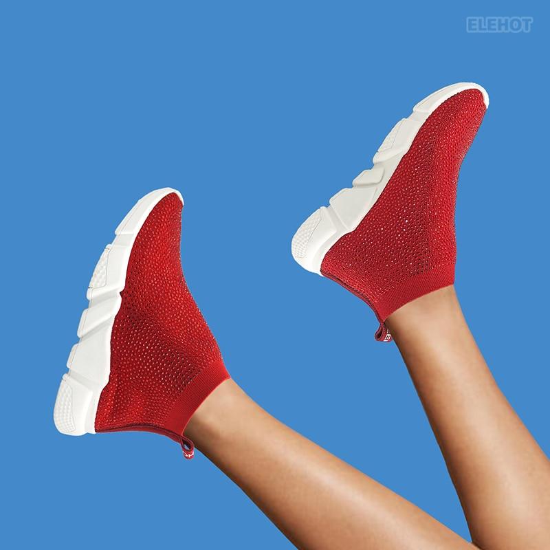 Elehot Red Rhinestone Sneakers