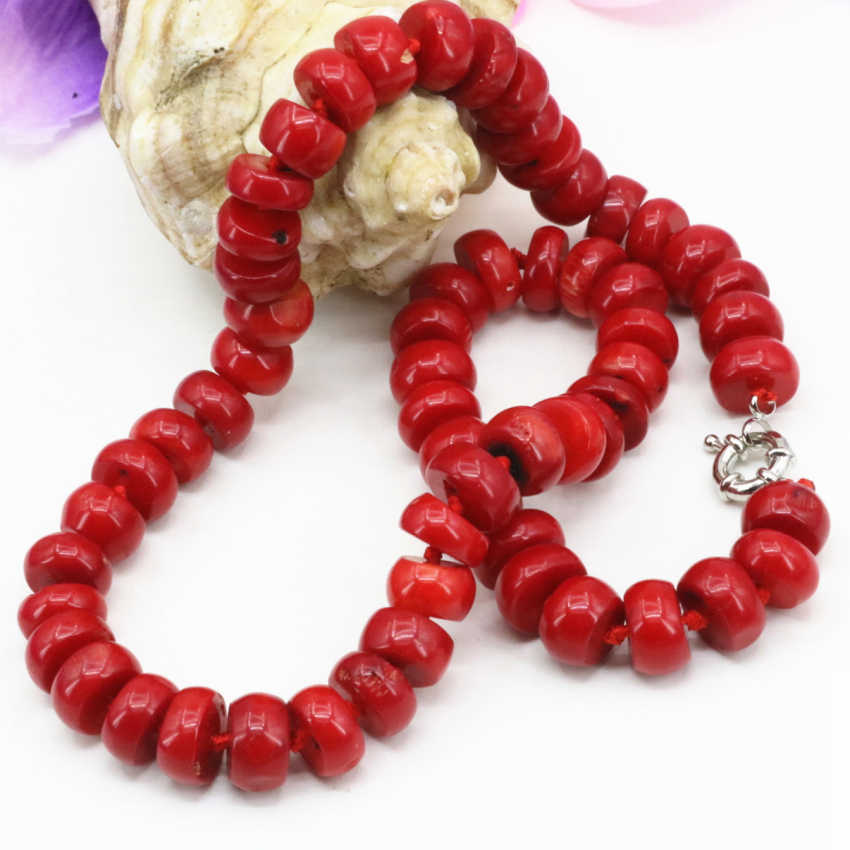 Top quality natural coral stone gem 8*12mm abacus beads choker strand necklace for women chain choker collar 20inch B3206