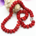 Top quality natural coral stone gem 8*12mm abacus bead choker strand necklace for women chain choker collar jewelry 20inch B3206