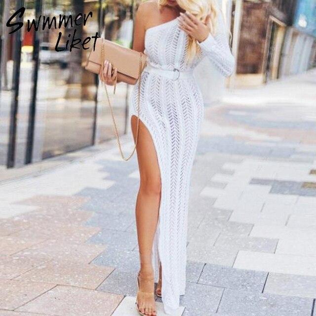 Bianco lavorato a maglia beach dress cover up Lunga tunica delle donne costume da bagno crochet vestito di Un spalla della copertura up Più Il formato spiaggia estate di usura 2019