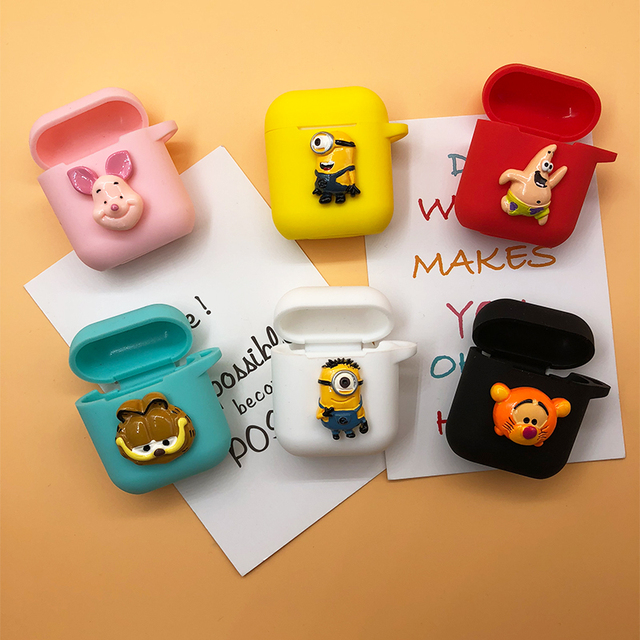 hot sale online e1103 0d938 US $8.57 34% OFF|New Handmade Silicone Case For Apple Airpods Accessories  Protective Cover Unique Cute Cartoon Antidust Bag DIY Case with Rope-in ...