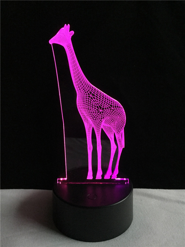 Amusing 3D African Animal Giraffe Desk Lamp Vision 7 Color Gradient - Night Lights - Photo 5