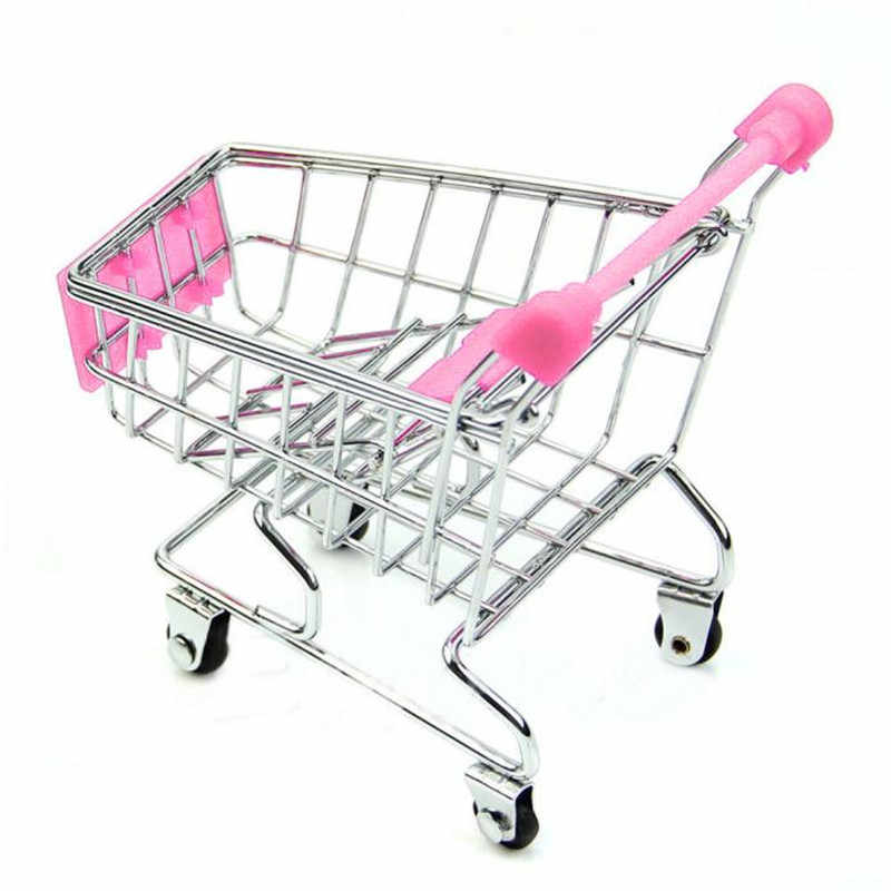 Mini Supermarket Handcart Shopping Utility Cart Mode Storage Pink Children Gift Shopping Cart Storage Cartoon Toy For Kid 20