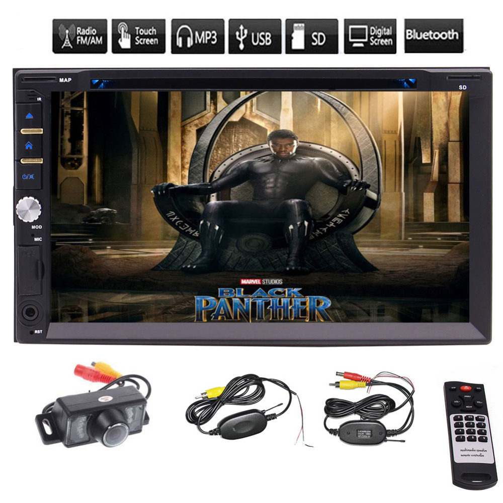 Eincar Car Rearview Camera 7 Double Din In Dash Stereo Car Receiver Audio Video DVD CD Player Bluetooth FM AM RDS Radio MP3 car stereo dvd player for gmc chevy silverado 1500 2012 gmc sierra 2011 2010 7 double din in dash touchscreen fm am radio gps