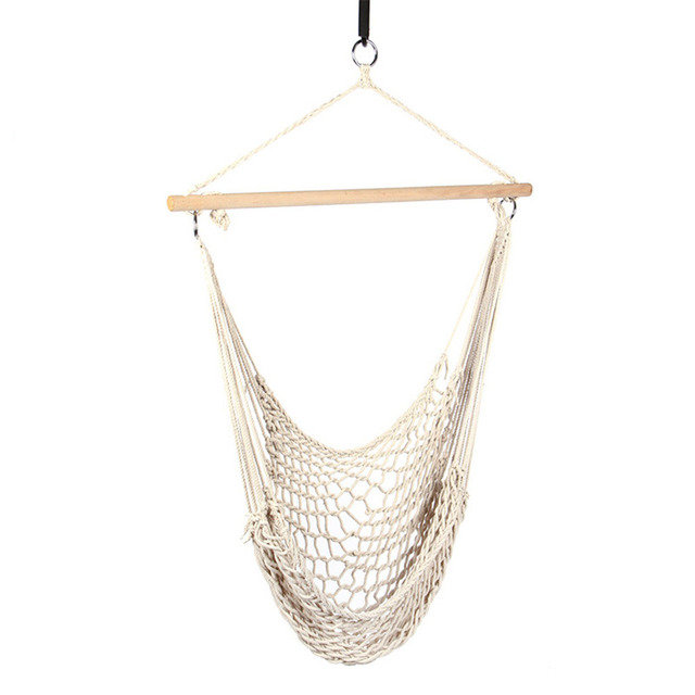 Hanging Cotton Garden Swing Chair Rope Mesh Single Person Garden Swing For  Indoor Outdoor Leisure Time