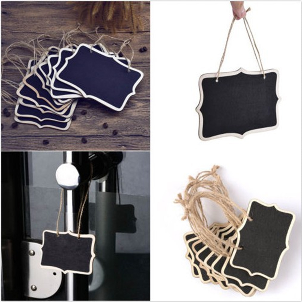 10pcs Double-Sided Wooden Erasable Mini Chalkboard Signs Message Board With Hanging String DIY Decoration