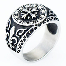 Korean Jewelry Titanium Steel Jewelry Personality Rights Zhilong Index Finger Ring Cross Rock Men's Ring vintage cross decorated index finger women men s ring