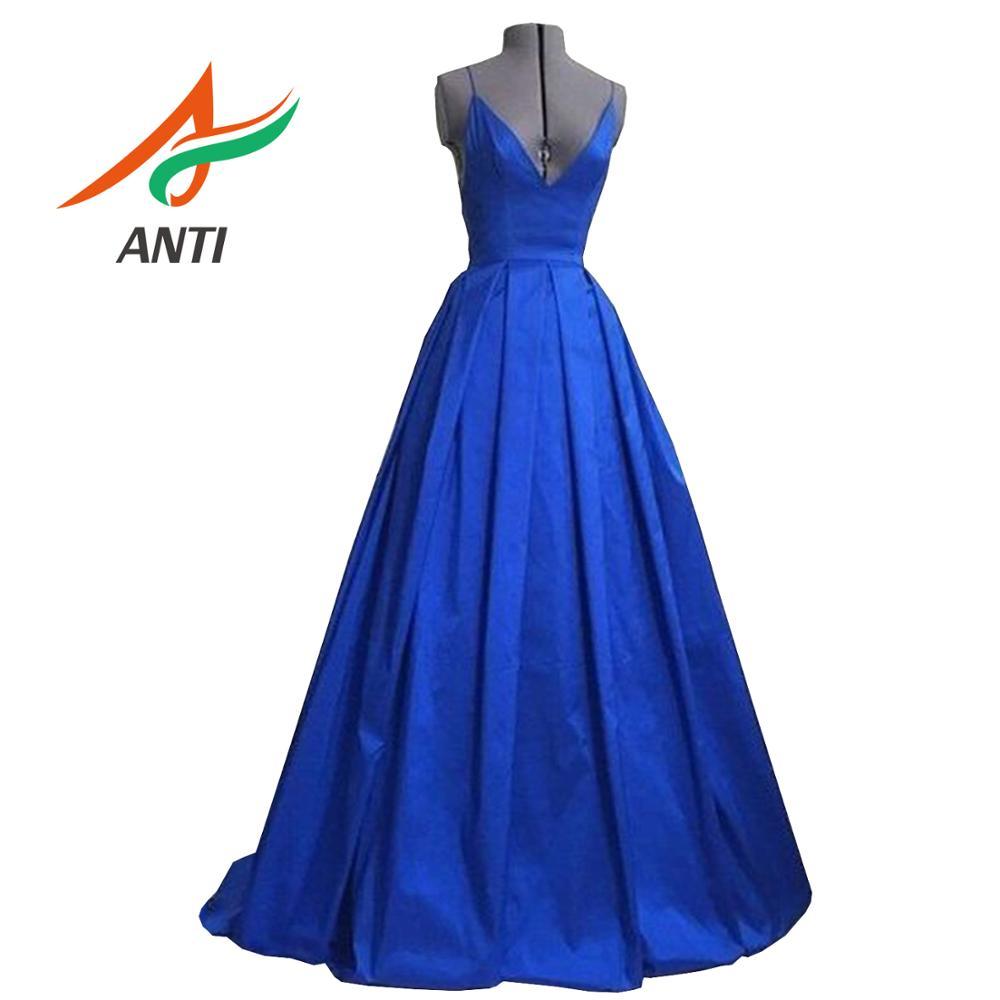 ANTI 2019 nouvelle Sexy v-cou océan-bleu robe de soirée longue avec sans manches dos nu robe de soirée femme formelle robes de soirée abiye