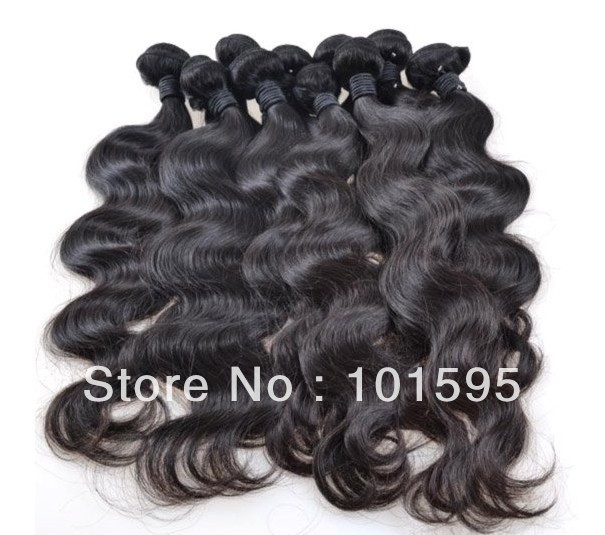 "Retail Brazilian virgin hair extensions 100% unprocessed human Body wave 12""-30"" natural color DHL Free shipping"