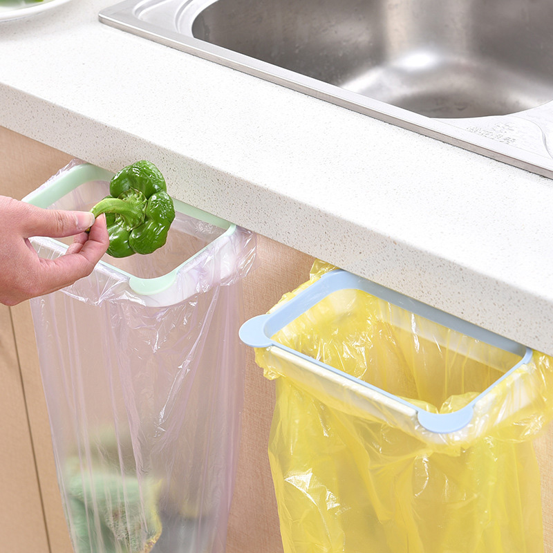 1PC Garbage Bag Racks Hanging Kitchen Cupboard Storage Holders Tailgate Stand Rubbish Bag Towel Storage Rack