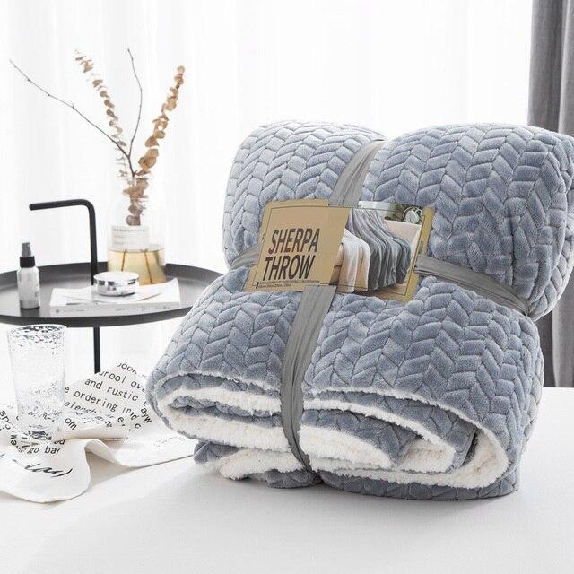 Couverture douatine de corail Sherpa Super douce de luxe couleur unie réversible en fausse fourrure vison jeter des couvertures chaudes pour enfants adultes sur le lit