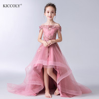 Elegant Beaded Appliques Flower Girl Dress Party Pageant Gown Long Trailing Princess Wedding Dress Kids First Communion Dresses