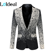 2017 M-6XL mens floral blazer men designs jacket veste homme costume black casual suit slim fit
