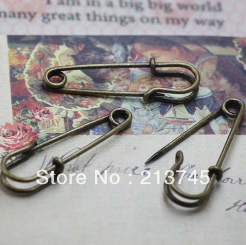 Free Ship!!!35mm bronze tone plated safety brooch brooches findings diy jewelry