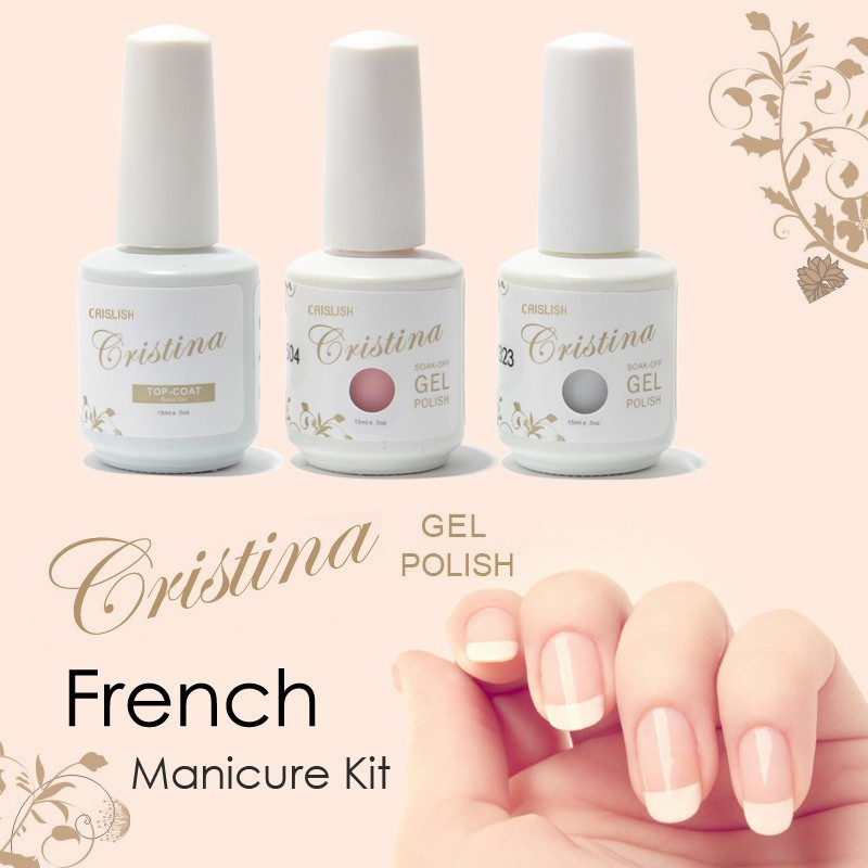 Cristina Professional Color Pink White + Top Coat UV Nails Gel ...