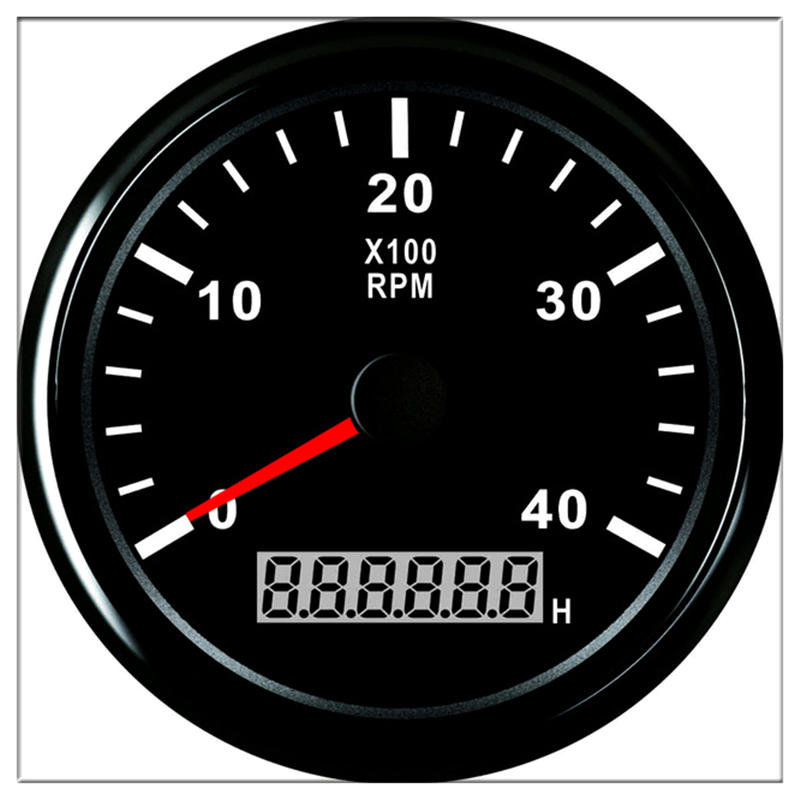 Tachometer for boat motor 85mm Round 0-4000RPM Hour meter Waterproof Generator RPM REV Counter With 12 V <font><b>24</b></font> V With Back light image