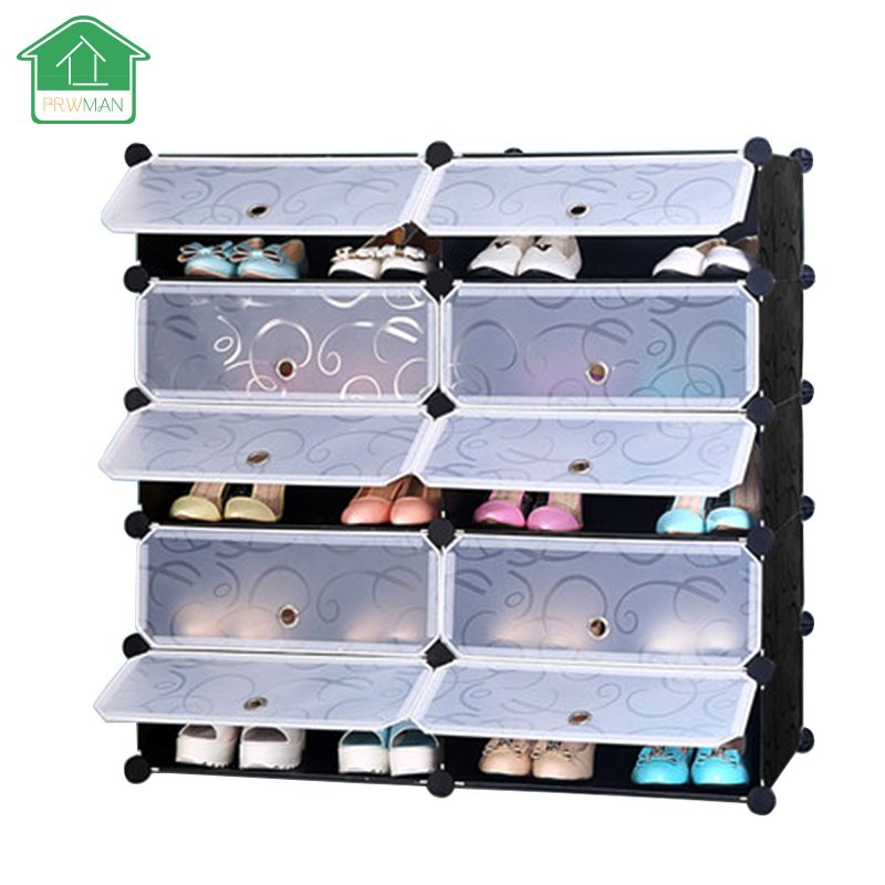 PRWMAN 5 Tier And 10-cube Shoe Cabinets Toy Organizer Storage Stackable Multi Shoe Rack Plastic Drawers Black with White Doors