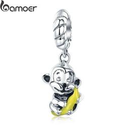 BAMOER 100% 925 Sterling Silver Animal Collection Cute Monkey & Banana Love Charm fit Charm Bracelet Bangle DIY Jewelry SCC520