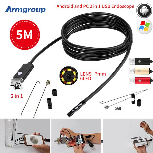 7 MM 2EM1 USB Endoscópio Android Câmera 5 M HD Tubo Tubo de Telefone À Prova D' Água PC USB Endoskop Inspecção Borescope OTG Mini Câmera