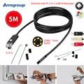 7MM 2IN1 USB Endoscope Android Camera 5M HD Tube Pipe Waterproof Phone PC USB Endoskop Inspection Borescope OTG Mini Camera